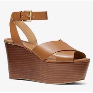 NEW Michael Kors Brown Abbott Leather Wedge